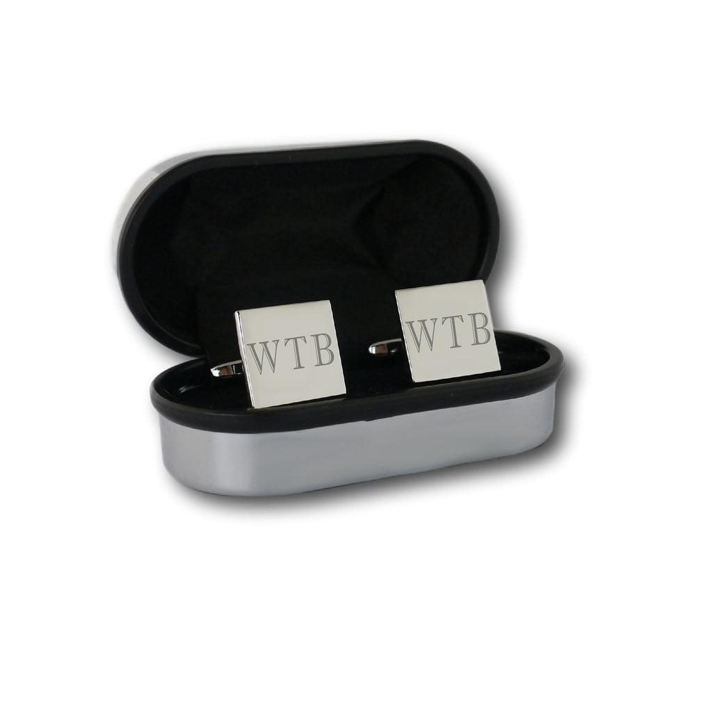 Square Engraved Initial Cufflinks