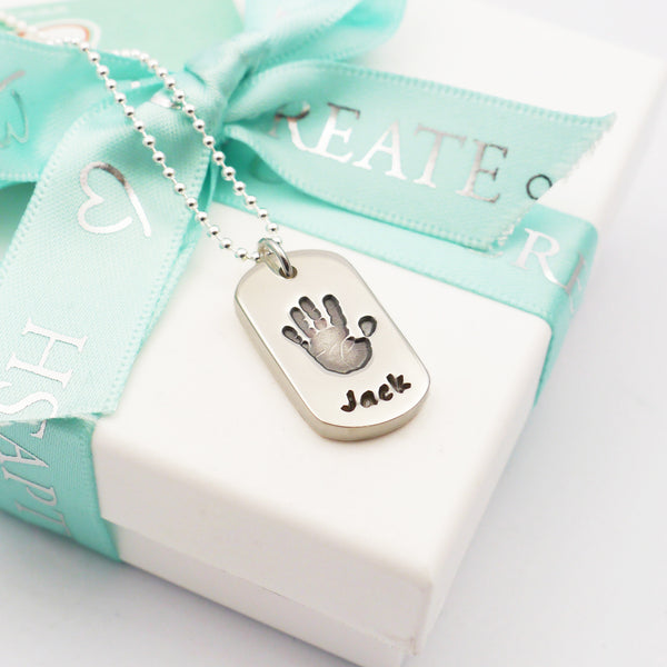 Handmade handprint dog tag necklace personalised