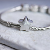 Engraved fingerprint pandora style personalised star charm bead