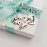 Handmade personalised Handprint and Footprint silver heart charm necklace three children