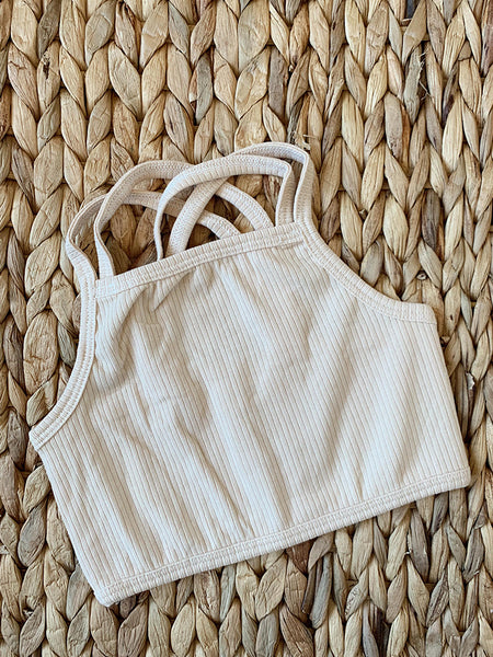 Cream Ribbed Cotton Crop