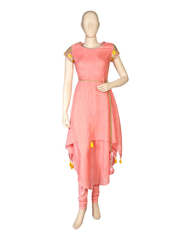Pink Asymmetrical Kurta and Pant Set