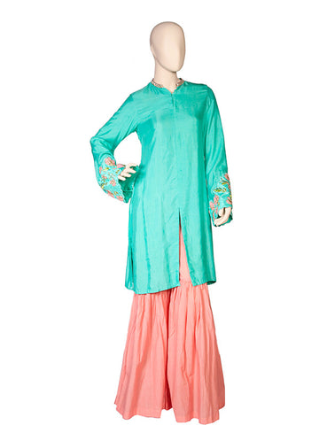 Turquoise Blue Kurta Sharara Set