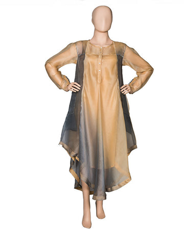 Grey/Coffee Asymmetrical Kurta