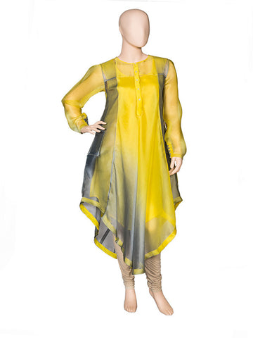 Grey/Butter Yellow Asymmetrical Kurta