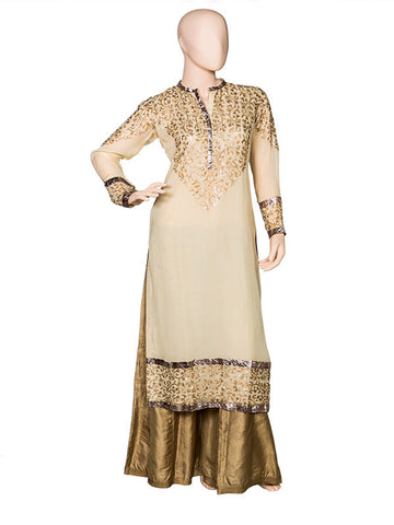 Offwhite Embroidered Kurta Set with Sharara
