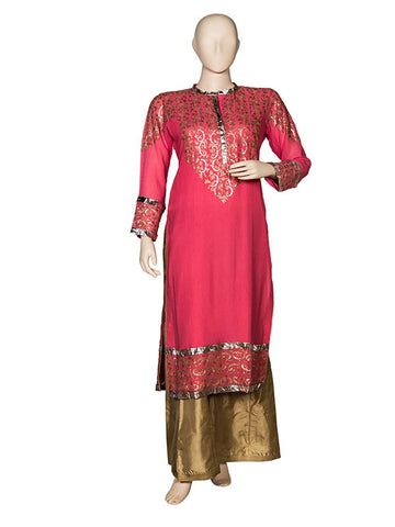 Peach Embroidered Kurta Set with Sharara