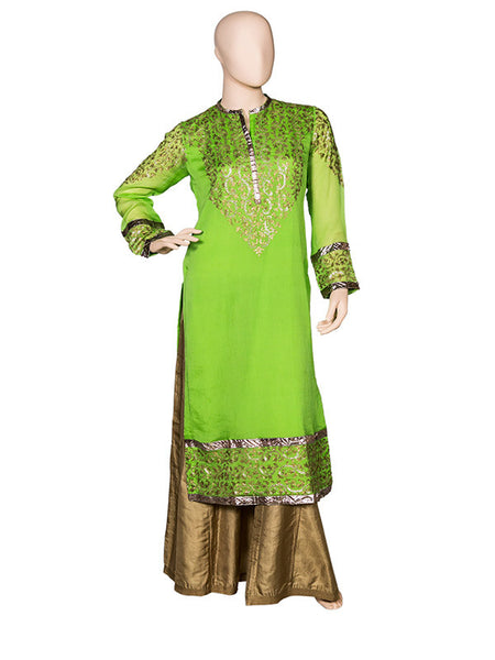 Green Embroidered Kurta Set with Sharara