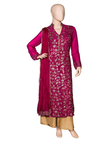 Rani Pink Kurta Georgette Embroidered Kurta Set with Pallazo and Dupatta