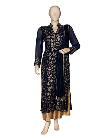 Blue Kurta Georgette Embroidered Kurta Set with Pallazo and Dupatta