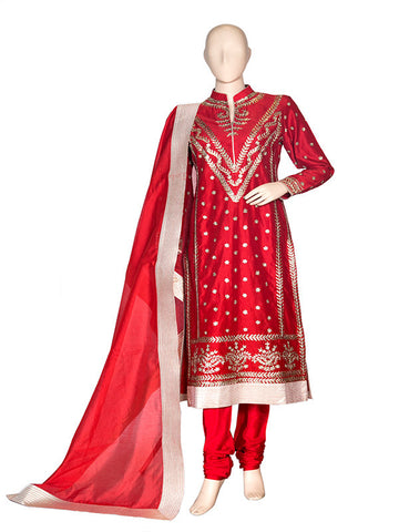Red Silk Anarkali