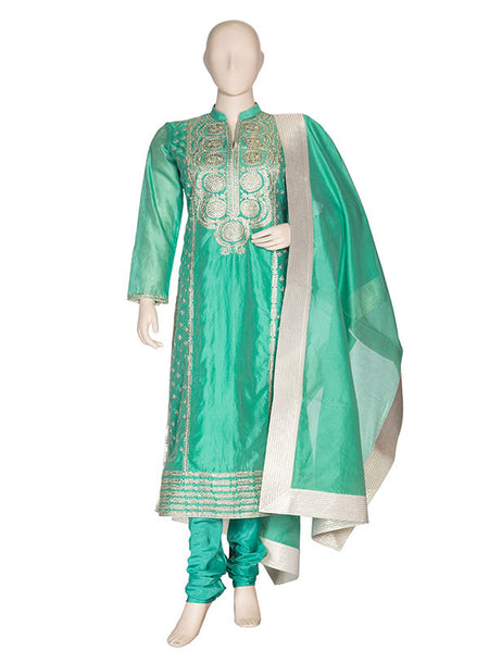 Sea Green Silk Anarkali