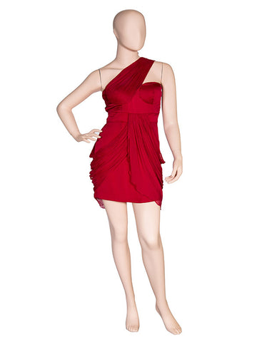 Red Chiffon One Shoulder Dress