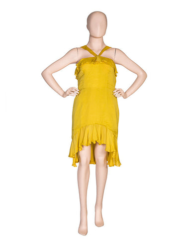 Yellow Chiffon Halter Dress