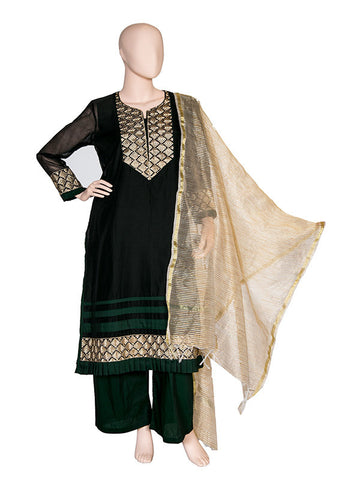 Black Chanderi Kurta Set