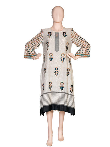Offwhite Embroidered Kurta With printed Lining
