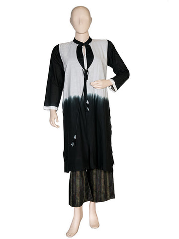 Black and White Layered Jacket Tunic With Pallazo