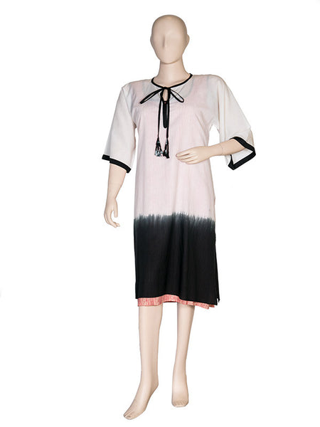 Black and White Kurta with Printed Inner