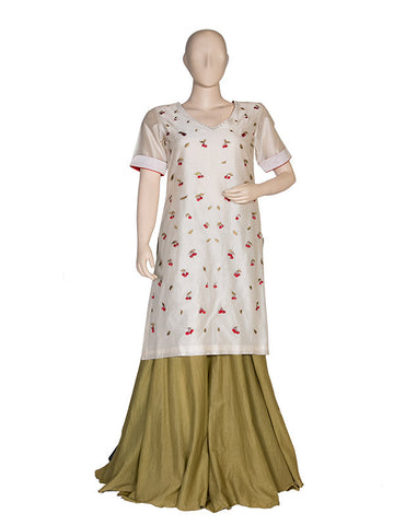 Offwhite Embroidered Kurta and Sharara Set