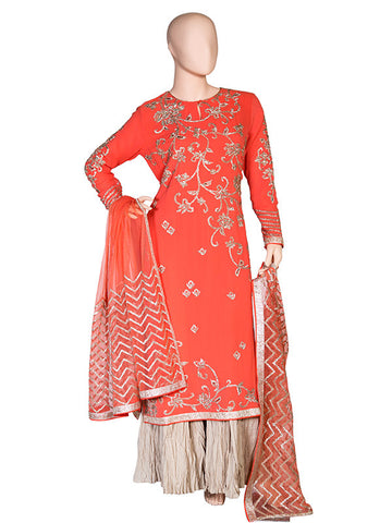 Lotus Embroidered Silk Georgette Kurta Set with Sharara