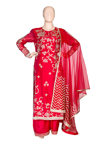 Lotus Embroidered Silk Georgette Kurta Set