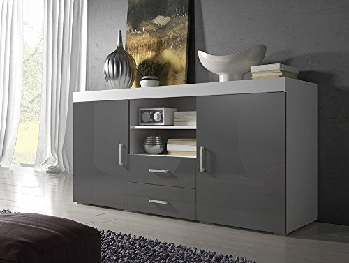 the best attitude deffe fc8c7 Sideboard Cupboard Buffet Mambo 164cm 2 Doors 2 Drawers Body Matte White /  Front Gloss Grey