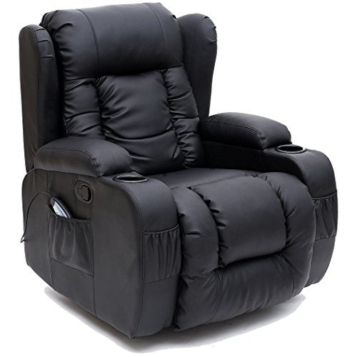 Cool More4Homes Tm Caesar 10 In 1 Winged Recliner Chair Rocking Massage Swivel Heated Gaming Bonded Leather Armchair Black Pdpeps Interior Chair Design Pdpepsorg