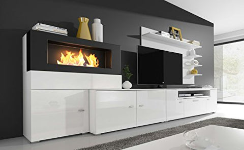Home Innovation - Living room furniture set with bioethanol fireplace, wall  unit tv, finished in matt white and white gloss lacquered. Measures: 290 x  ...