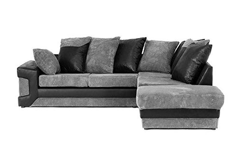 purchase cheap d9a33 99e6d Abakus Direct Dino Corner Sofa In a Large Footstool In Black & Grey [Black  Right]