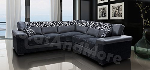 Cool Harmony Corner Sofa Black Faux Leather Fabric Settee Gmtry Best Dining Table And Chair Ideas Images Gmtryco