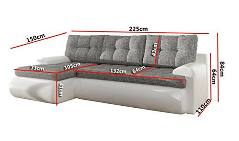 Anika Corner Sofa Bed with Underneath Storage in Grey and White or Grey and  Black (White Right)
