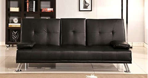 Wondrous Comfy Living Cinema Style Futon Sofabed With Drinks Table Sofa Bed Faux Leather In Black Squirreltailoven Fun Painted Chair Ideas Images Squirreltailovenorg