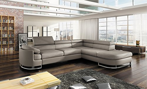 Swell Bmf Ice Light Grey Modern Corner Sofa Chrome Legs Bed Storage Faux Leather Fabric Right Facing 278Cm X 224Cm Home Interior And Landscaping Ponolsignezvosmurscom