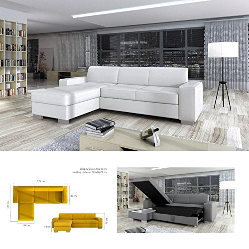 BMF SENTO WHITE MEDIUM SIZE FABRIC OR FAUX LEATHER CORNER SOFA BED WITH  BEDDING CONTAINER - LEFT FACING - 271cm x 170cm