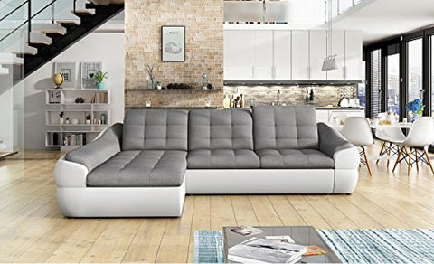 BMF INFINITY MINI - WHITE GREY FAUX LEATHER/FABRIC CORNER SOFA BED BEDDING  STORAGE MODERN - LEFT FACING - 290cm x 190cm