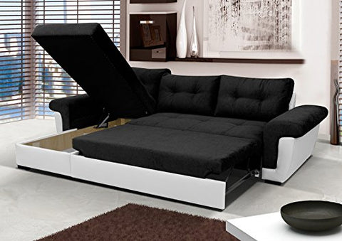 Corner Sofa Bed with Storage - Black Fabric/White Leather – Josef\'s ...