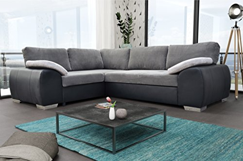 Colorado Corner Sofabed Suite Couch Corner Group in Black/Grey Left or  Right (Left, Black/Grey)