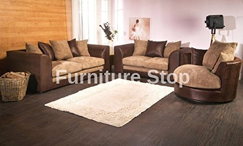 Admirable Dilo Dylan 3 Seater And 2 Seater And Swivel Chair Portobello Sofa Settee Couch Rhino Brown Beige Leather And Jumbo Cord Pabps2019 Chair Design Images Pabps2019Com