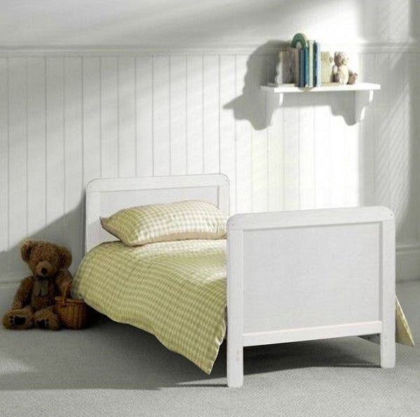 wholesale dealer 66852 3c06c White Wood Baby Cot Bed & Deluxe Sprung Mattress Converts into a Junior  Bed, 3 Base Level (White)