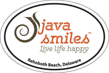 Oval Java Smiles Sticker - Rehoboth Beach