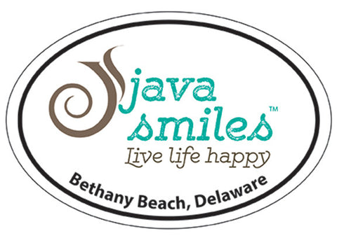 Oval Java Smiles Sticker - Bethany Beach