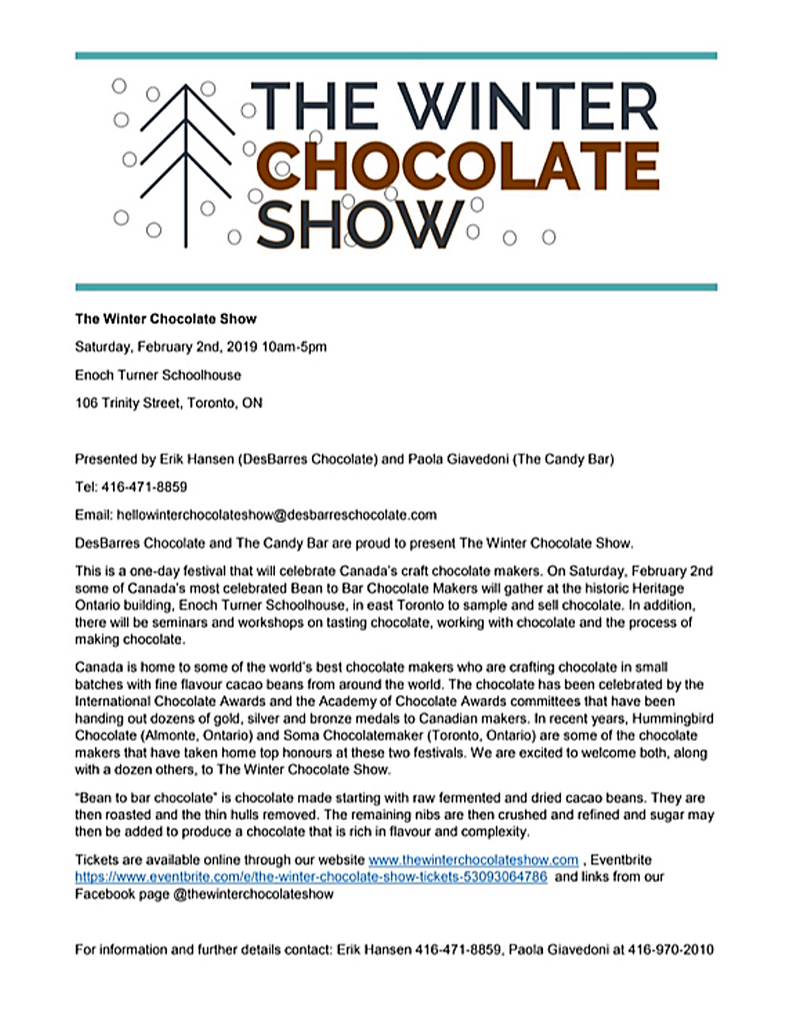 the winter chocolate show press release