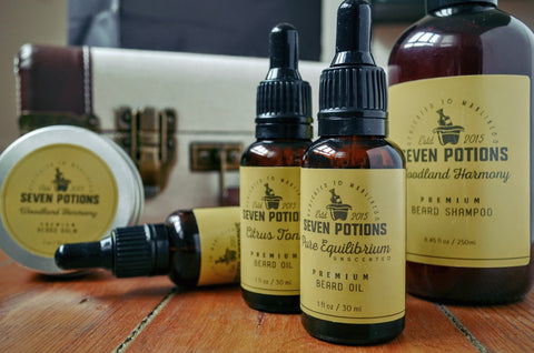Discover our beard oils, beard balms, beard shampoos and pre shave oils - Seven Potions