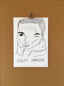Badly Drawn Scott Parker - Original Drawing - A3.