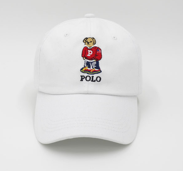 White Polo Bear Embroidered Baseball Cap Hat – voguefashionstyle ee6508eab1a
