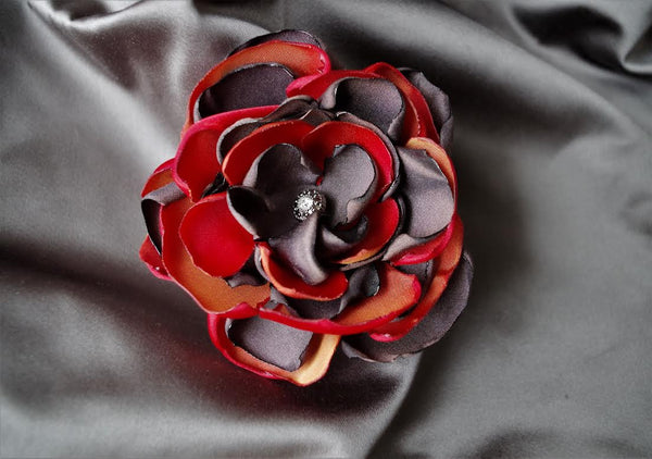 Coral & Light Charcoal Flower Brooch