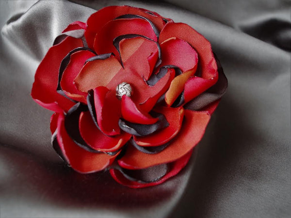Coral Shades Flower Brooch