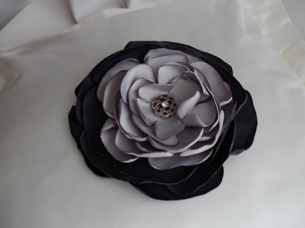 Florence - Midnight & Silver Blue Cushion Blossom