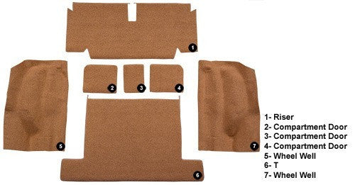 1969-1975 Chevrolet Corvette Coupe Rear without Pad Flooring [Rear Area]