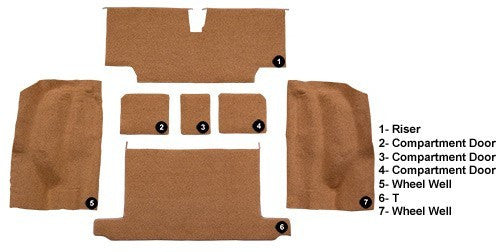 1973-1975 Chevrolet Corvette Roadster Rear with Pad Flooring [Rear Area]
